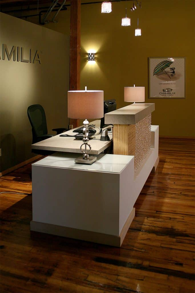 Office Renovation, Custom front desk, crystal pendants, brand recognition, target market - Julkowski inc.