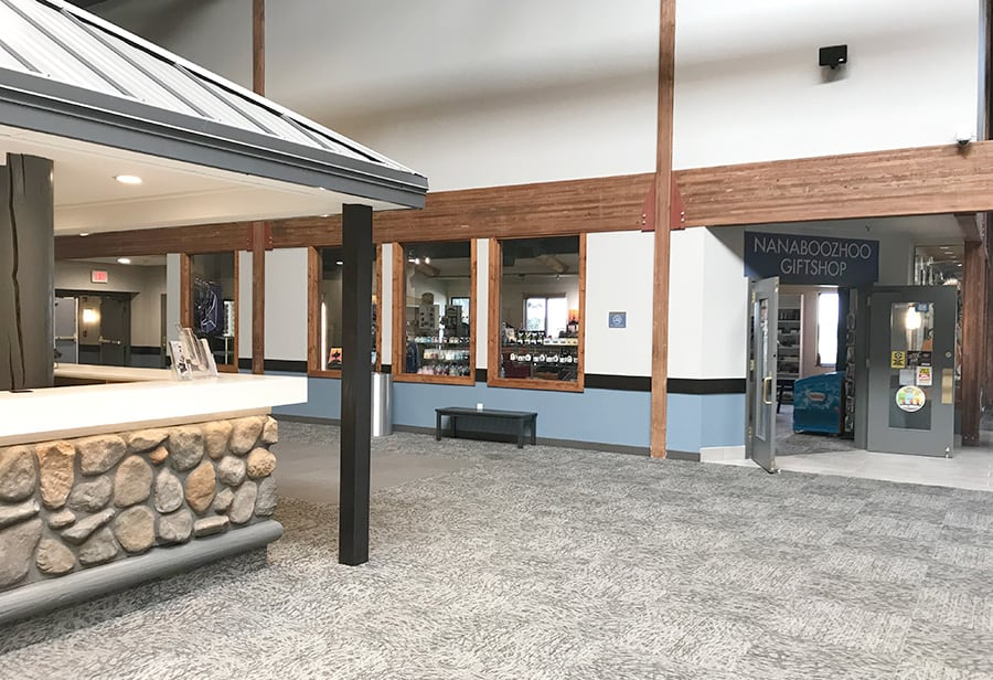 Hotel Lobby Renovation, front desk transformation, gift shop, lobby, Hom Furniture at 7 Clans Casino and Hotel in Thief River Falls. MN Casino - Julkowski inc.