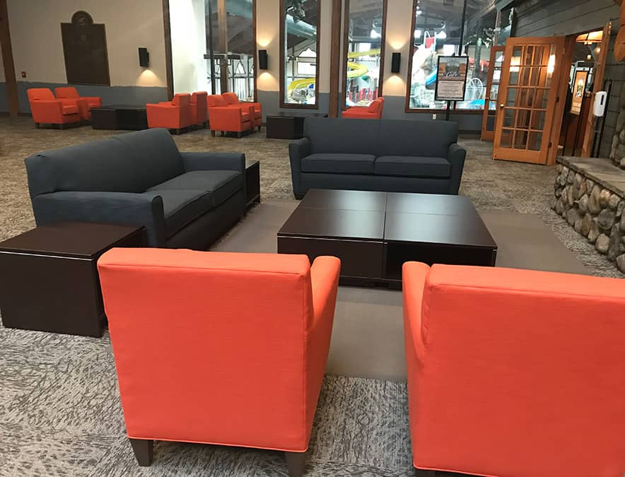 Hotel Lobby renovation, poolside view, restaurant, Hom Furniture at 7 Clans Casino and Hotel in Thief River Falls. MN Casino - Julkowski inc.