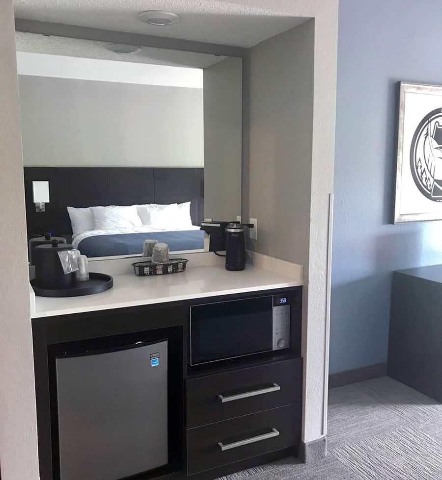 Hotel room remodel, coffee bar, espresso furniture piece, quartz countertops - Julkowski inc.