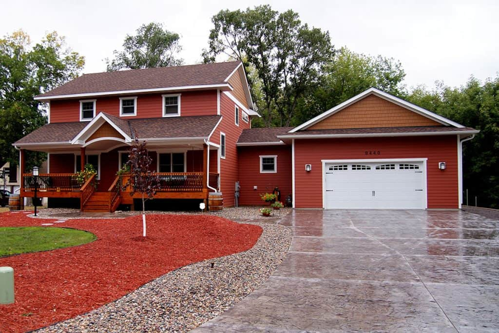 SIP's, Structural Insulated Panels, custom home, front porch, stamped concrete driveway - Julkowski Inc.