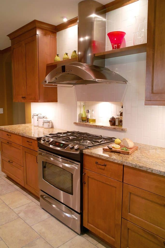 Granite countertops, custom maple cabinets, tile flooring, subway tile backsplash - Julkowski Inc.