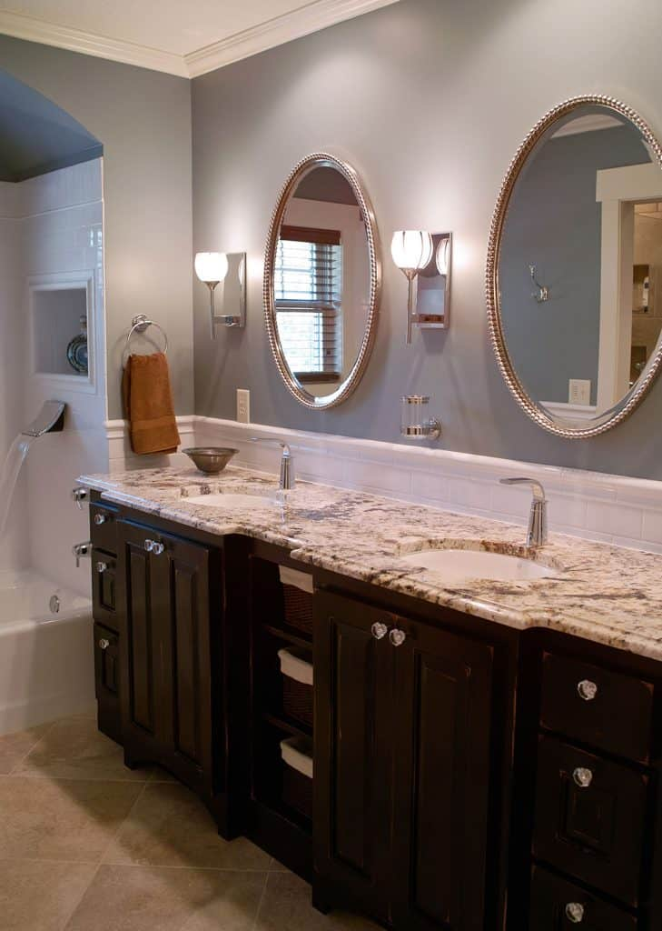 Master bathroom, waterfall faucet, heated tile floors, custom vanity, granite countertops - Julkowski Inc.