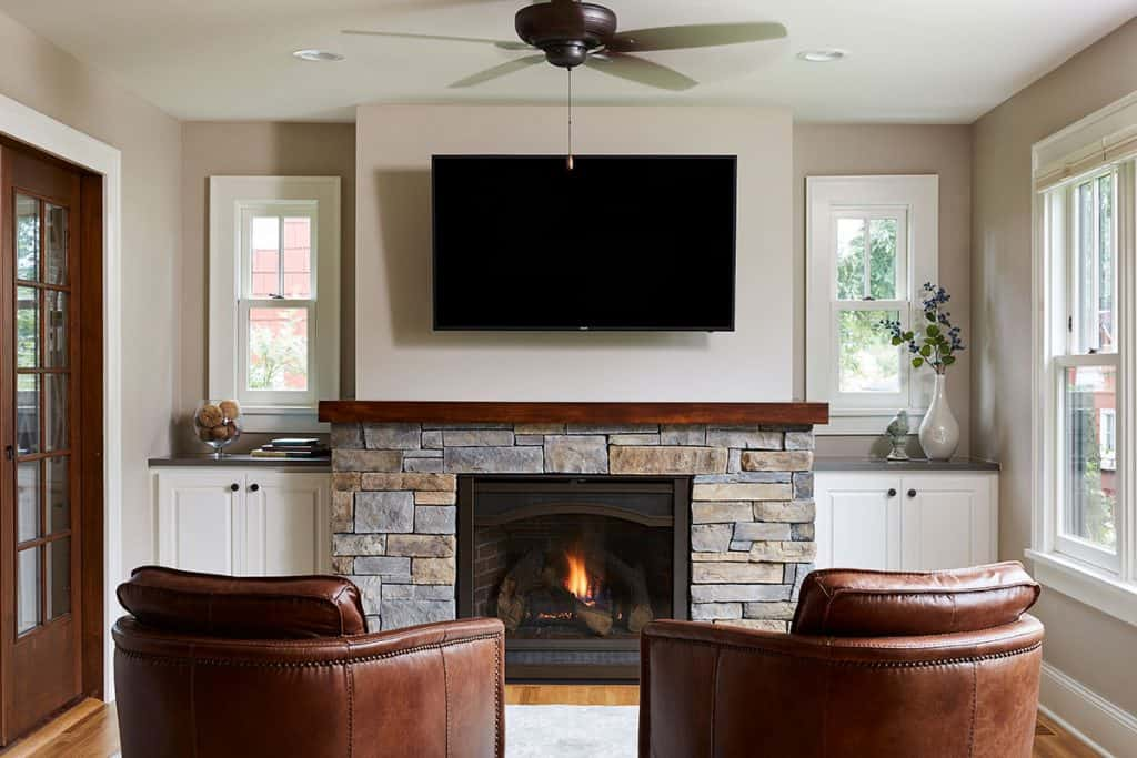 St Paul Minnesota Renovation - Gas fireplace, Marvin windows, custom built ins, main level remodel, living room remodel - Julkowski inc.