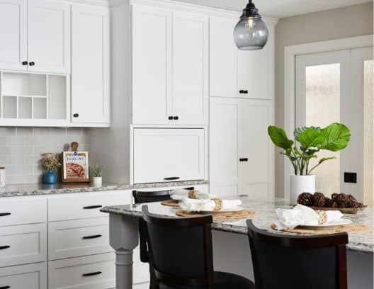 Designer white cabinets & Bellingham Cambria countertops. Custom coffee nook and pantry.